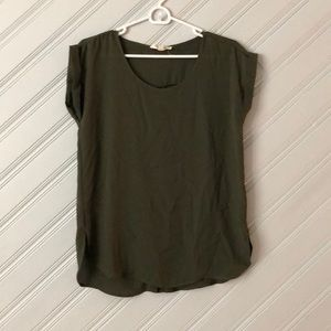 Army green short sleeve blouse